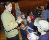 Rebecca Lobo signs autographs at a press conference introducing the Connecticut Sun on January 28, 2003 at the Mohegan Sun Arena in Uncasville, Conn